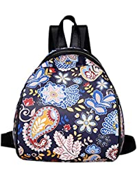 Rrimin New Fashion Women PU Leather Animal Flower Printed Backpack Casual Mini Travel Backpack Girls School Bag