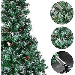 Árbol de Navidad artificial ozavo 120/150/180/210cm no inflamable Árbol Navidad en verde en blanco con nieve, con piñas de pino, incluye soporte de metal mit Schnee 180