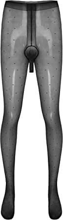 Choomomo Mens Sissy Pantyhose Sheath Open Dot Pattern Thin Tights Stockings Leggings Nightwear
