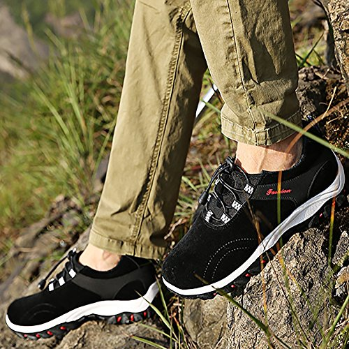 Scarpe Uomo da Escursionismo & Stivali in Pelle Scamosciata per Invernali Stivaletti Stringati Unisex Adulto Nero