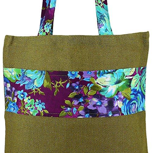 Vielzweck Große Einkaufstasche - Boho-Einkaufstasche hergestellt aus natürlichen Eco Friendly Jute Multi-14