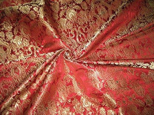 Schwere Seide Brokat Stoff Metallic Gold, Rot Farben *–Hobby, Home Decor, Nähen, Mode, Puppe Kleid, Einrichtung, innen.
