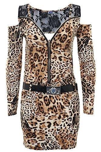 SAPPHIRE BOUTIQUE Haut à manches longues épaules dénudées pour femme Motif dentelle avec ceinture Robe Bodycon Fermeture zippée à l'avant - Small Leopard Print