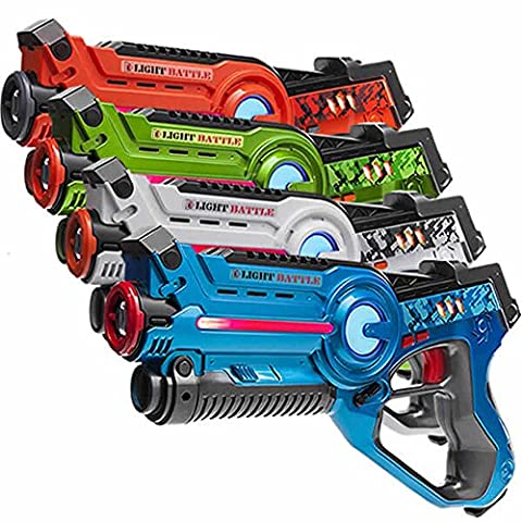4 Light Battle Active laser tag toy guns. Color: Green, Orange, Blue and White - display box
