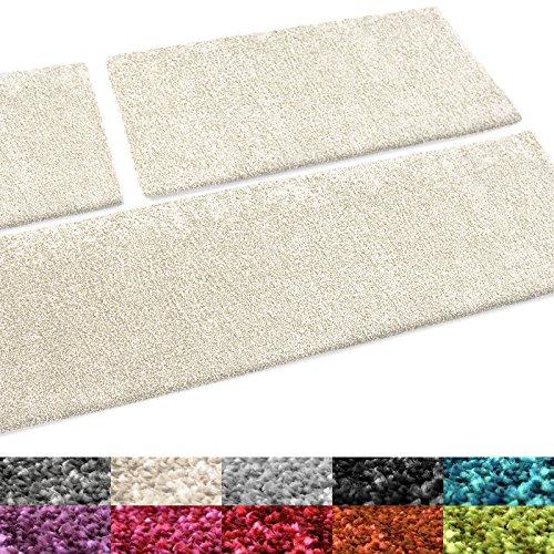 casa pura® Bettumrandung Cosy   Bettvorleger Set 3 teilig für Schlafzimmer   in vielen Trendfarben   waschbar   Hochflor Teppich Läufer, kuschelig weich (creme)