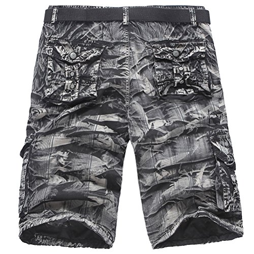 Zhhlaixing Morbido Mens Summer Comfortable Camouflage Cargo Shorts Pants Multi Pockets Gift for Father's Day (Not Include Belt) Black