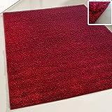 Flauschiger Teppich Langflor Hochflor Shaggy Teppiche Modern Wohnzimmer Flokati Einfarbig Uni | verschiedene Maße | Kinderzimmer & Jugendzimmer geeignet | Schadstofffrei (Rot, 140 x 200 cm)
