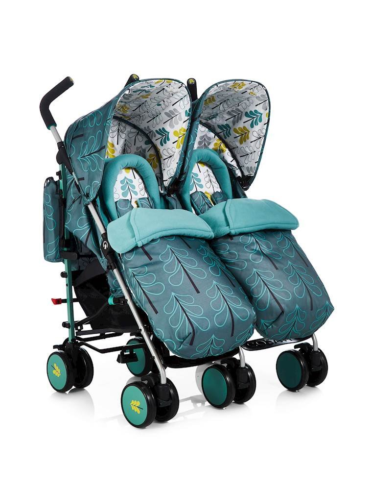 Cosatto Supa Dupa Double/Twin Stroller, Suitable from Birth, Fjord Cosatto Supa dupa is a compact from-birth double stroller. it's lightweight but sturdy. the stowaway autostand makes it great for home or car storage. With upf50+ extendable hoods, raincover and fleece-lined footmuffs, supa dupa's in charge, rain or shine.  the handy compact fold means you can hop on and off transport. Each seat has its own recline - so whatever their age, whatever their stage, whatever their mood that day, they're happy. 1