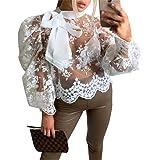 Geagodelia - Camicia a maniche lunghe, da donna, in pizzo, con stampa trasparente