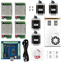 SainSmart CNC 4-Axis Kit with TB6600 Motor Driver, USB Interface Board, Nema23 270 Oz-in Motor and 24V Power Supply (CNC Kit 4)