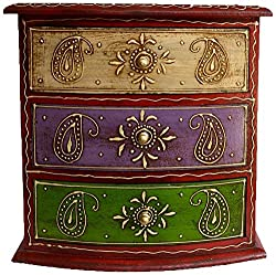 Theshopy Decorative Handmade Wooden Drawer Chest, 3 Drawers (26.25 cm x 26.25 cm x 17.5 ...