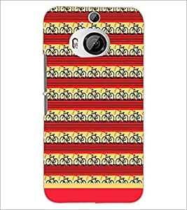 PrintDhaba Cycle Pattern D-1477 Back Case Cover for HTC ONE M9 PLUS (Multi-Coloured)