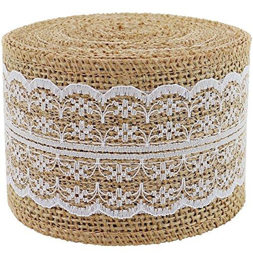 Rouleau de ruban en toile de jute Blanc garnitures de dentelle ruban adhésif en toile de jute 396,2 cm