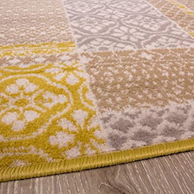 Milan Ochre Mustard Yellow Grey Beige Patchwork Squares Traditional Living Room Rug - inexpensive UK light store.