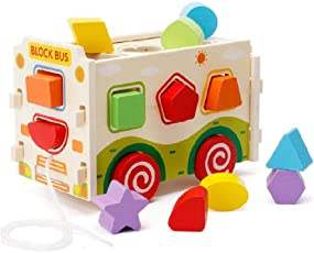 Emob Classic Wooden Assembling Push and Pull Along Shape Sorter Bus Learning Toy for Kids
