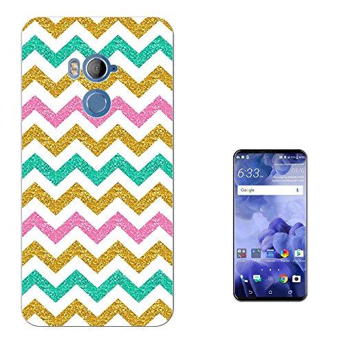"""Preisvergleich Produktbild 001720 - Glitter Style Zig Zag Blue Pink Gold Pattern Fashion Trend Design HTC U11+ PLUS 6.0"""" Fashion Trend Silikon Hülle Schutzhülle Schutzcase Gel Silicone Hülle"""