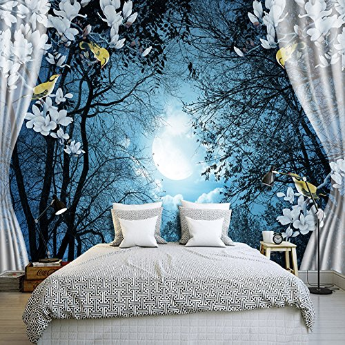 ... Ohcde Dheark 3D Wandbild Tapeten Natur Ruhige Nacht Wald Mond Custom 3D  Raum Landschaft Foto Tapete ...