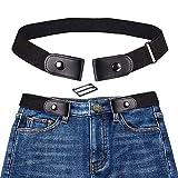KOBWA Cintura Elastica Senza Fibbia per Uomo Donna, Senza Fibbia Cintura Invisibile per Pantaloni Jeans (Nero)