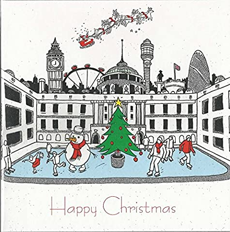 Somerset House Skaten & London Skyline Weihnachten Karte Glitzer Finish
