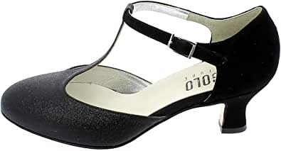 L'ANGOLO CALZATURE - Scarpa da Ballo in camoscio e Glitter Nero