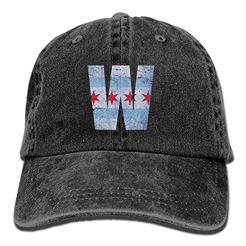 Xukmefat Unisex Adult Chicago City Flag Winner W Washed Denim Retro Cowboy Style Baseball Cap Sun Hat Trucker Hat Adjustable Dad Hats PK641