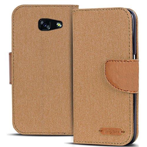 Conie Textil Hülle kompatibel mit Samsung Galaxy A3 2017, Booklet Cover Braune Handytasche Klapphülle Etui mit Kartenfächer