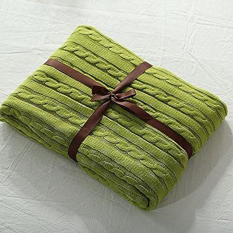 FEI&S mantas tejidas de color sólido Oficina twin twin manta alfombras colchas,Modelo-mostaza verde,110cm x