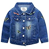 VEVESMUNDO Baby Mädchen Kinder Jeansjacke Jacke Denim Jeans Steppjacke Übergangsjacke Mantel Oberteile Bekleidung mit Schmetterling Stickerei (für Körpergröße 110-119cm, Hellblau)
