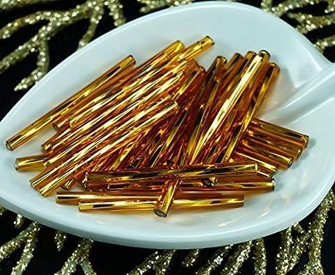 50X x 30mm Extra Lang Dunkel Gold Silber Ausgekleidet Twisted Runde Tschechische Glas stiftperlen PRECIOSA Rohre