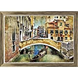 PB Romantic Venice Canvas Painting Antique Golden Frame 21.6 x 15inch