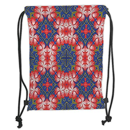 Drawstring Backpacks Bags,Floral,Blooms Pattern on Diamond Shaped Bands Vibrant Flowers Glamour Beauty Print,Royal Blue Red Gold Soft Satin,5 Liter Capacity,Adjustable String Closu -