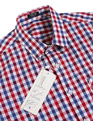 Coofandy Herren Hemd Kariert Cargohemd Trachtenhemd Baumwolle Freizeit Regular Fit 54-Blau und Rot