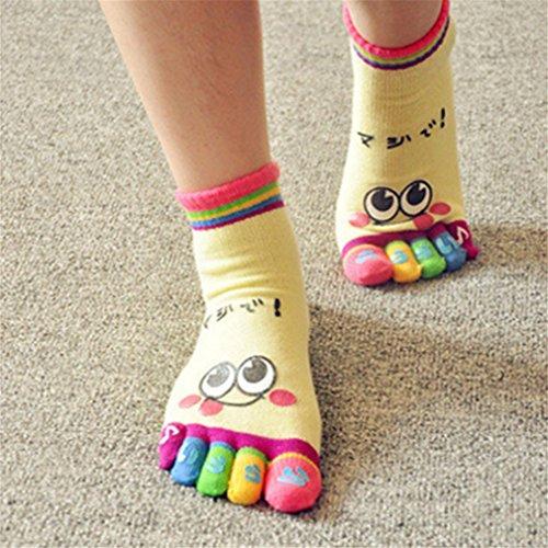 Yinew Mode Baumwolle Niedlich Lächeln esicht Fünf Finger Socken Boutique Baumwolle Cartoon Socken Boot Socken
