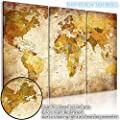 COUTUDI 3pcs Vintage 3D World Executive Travel Map Wall Poster Canvas Mural National Geographic Reference Home Art Decor (tools included) - inexpensive UK light store.