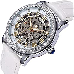 YISUYA Women Rhinestone Skeleton Watches Stainless Steel Steampunk Automatic Self-wind Mechanical Wristwatch With White Leather Strap For Ladies With Top Quality Gift Box