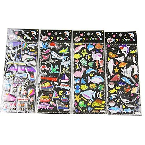 4 Blätter Reizendes nettes 3D DIY Karikatur-dekoratives geschwollenes Aufkleber-Klebeband / Kinder Handwerk Scrapbooking Aufkleber Set für Tagebuch, Album- EVA JBOY / TRANSPORT Muster (Sexy Kostüme Eva)