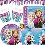Nordlicht Frozen Eiskönigin Anna & Elsa 90 Teile Partyset Teller Becher Servietten Tischdecke Banner für 24 Kinder