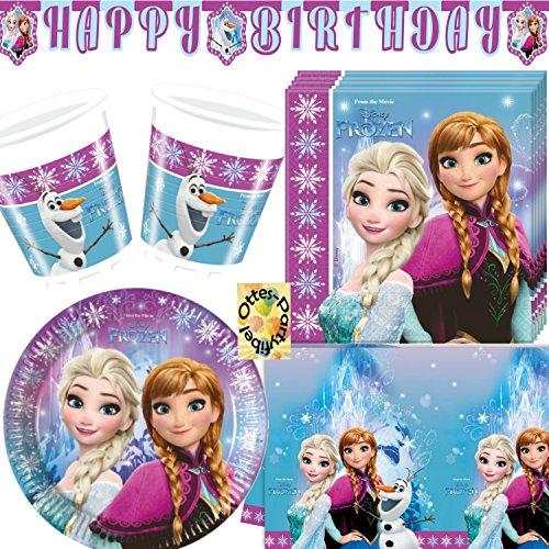 Eiskönigin Anna & ELSA 90 Teile Partyset Teller Becher Servietten Tischdecke Banner für 24 Kinder ()