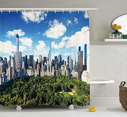Park Central Hotel Nyc (BUZRL NYC Decor Collection, Central Park View to Manhattan at Sunny Day Skyline Clouds Crowded City Cityscape, Polyester Fabric Bathroom Shower Curtain, 66x72 inches Extra Long, Green Blue White)
