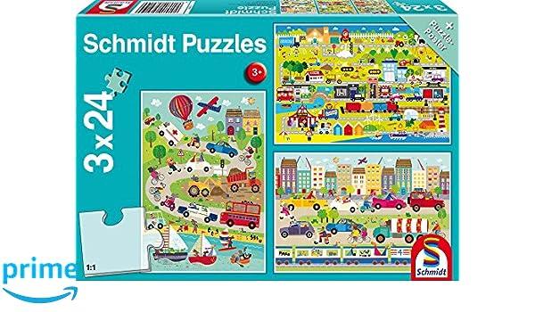 Puzzles Bunte Welt der Fahrzeuge 3 x 24 Teile Puzzle Spiel Deutsch 2017