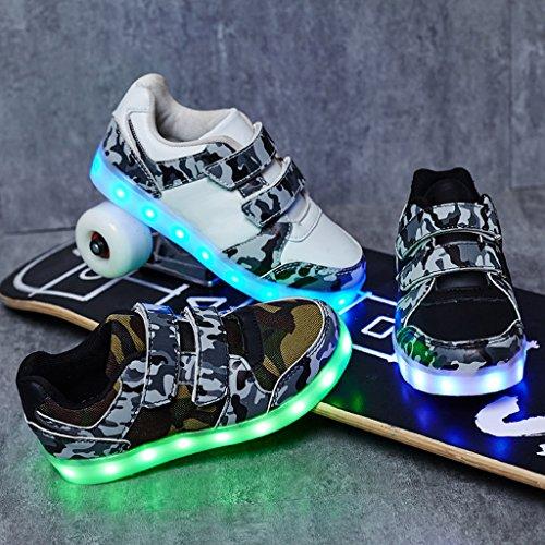 DoGeek LED Schuhe Kinder Damen 7 Farbe USB Aufladen Leuchtend Sportschuhe Led Kinder Farbwechsel Sneaker Turnschuhe für Herren Damen Schwarz1