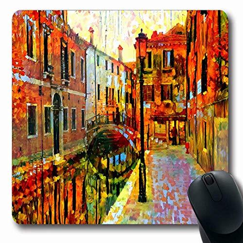 Luancrop Mousepads Farbe Abstrakt Venedig Szene Italien Aquarell Kanal Künstlerische Bootsbrücke Helle Pinsel Design Haus rutschfeste Gaming Mouse Pad Gummi Längliche Matte -