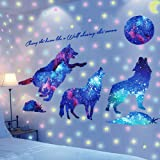 Brillent dans noir Decoration Étoiles Loup Adhésifs Muraux Stickers, AUHOTA Amovible Murale Autocollants Fluorescent Motif de