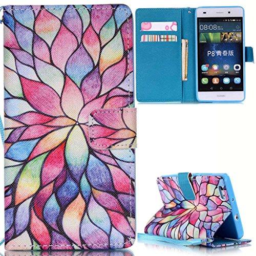 Voguecase® Per Apple iphone 5C,(sette fiori colorati) Elegante borsa in pelle Custodia Case Cover Protezione chiusura ventosa Con Stilo Penna sette colore fiore 01
