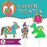 Druckdatei PDF Puppentheater Papierpuppen Kasperle Theater 'Ritter' Ritter rot, Ritter blau, Burgfräulein, Magd, Knappe, Pferd, Drache, Burg