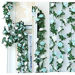 LumenTY - 2 guirnaldas con flores artificiales para decorar en casa, bodas, jardines, cumpleaños, festival, color morado claro y oscuro., azul, Blue and White