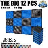 Super Dash 12Lot de 25x 25x 3cm alvéolée acoustique Home Studio insonorisé Traitement Accessoires en mousse dalles de panneau mural Sd1052, bleu et noir, 25 X 25 X 3 cm