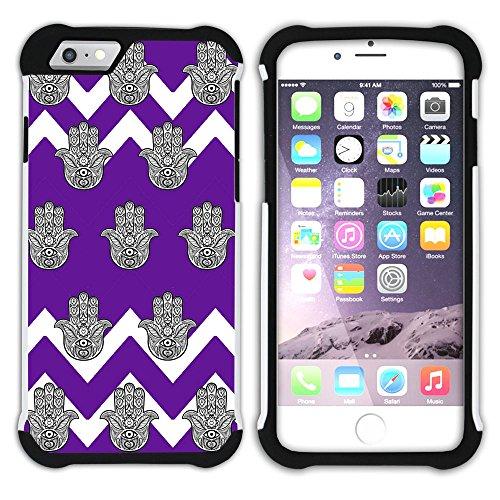 Graphic4You Monogramm Hamsa Hand der Fatima Winkel Muster (Wasserblau) Hart + Weiche Kratzfeste Hülle Case Schale Tasche Schutzhülle für Apple iPhone 6 Plus / 6S Plus Lila