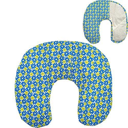 """Cuscino termico cervicale con noccioli di ciliegia""""Blue Summer"""" 36 x 32 cm - ripieno con 600gr di noccioli di ciliegie bio- per terapie del freddo e del caldo - con fodera lavabile in lavatrice"""