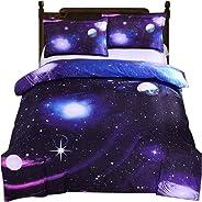 3D Galaxy Bedding Duvet Cover Single Reversible Purple Star Galaxy Microfiber Bedding Quilt Zipper Tie Child Teen Girl